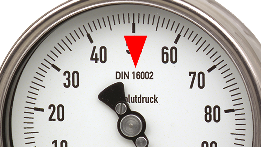 standard for absolute pressure gauges: DIN 16002