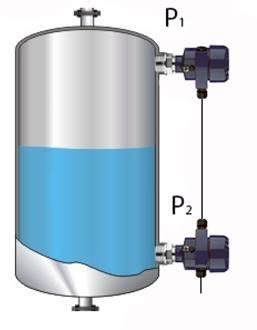 Medição de nível usando dois transmissores de processo interconectados