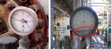 Poeira metálica no visor do medidor (esquerda); ponteiro solto (direita)